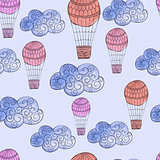 Vector Seamless Pattern with Watercolor Clouds and Air Balloons