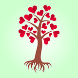 Tree with hearts and roots