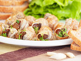 Tasty prepared escargot