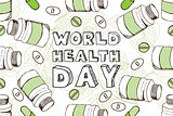 Hand-sketched world health day background