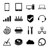 Computer repair service icons set monochrome