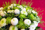 White chrysanthemum flowers bouquet