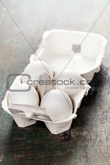 Cardboard egg box with eggs