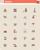 Japan travel icon set