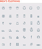 Linear men clothes icon set