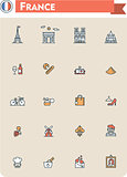 France travel icon set
