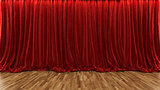 3d rendering theater stage with red curtain and wooden floor