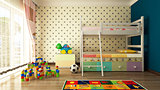 kids room 3d rendering