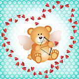 Cupid teddy bear on a background