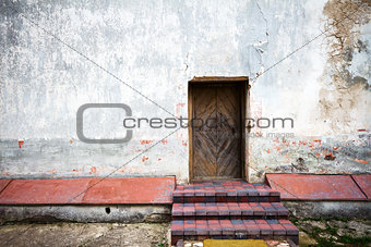 Old door and stone steps