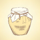Sketch honey jar in vintage style