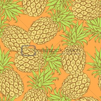 Sketch tasty pineapple in vintage style