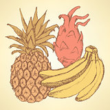 Sketch exotic fruits in vintage style