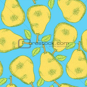 Sketch tasty pear in vintage style
