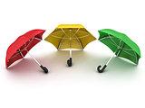 three colored umbrellas
