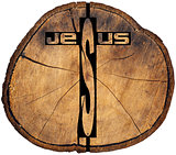 Jesus wooden Cross on Tree Trunk