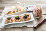 Sandwiches with pate and berry jam