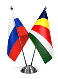 Russia and Seychelles - Miniature Flags.