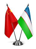 China and Uzbekistan - Miniature Flags.