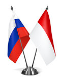 Russia and Monaco - Miniature Flags.