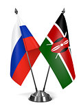 Russia and Kenya - Miniature Flags.