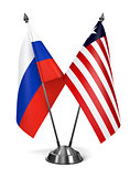 Russia and Liberia - Miniature Flags.
