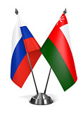 Russia and Oman - Miniature Flags.