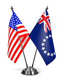 USA and Cook Islands - Miniature Flags.