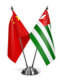 China and Abkhazia - Miniature Flags.