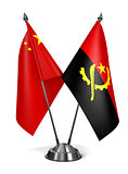 China and Angola - Miniature Flags.