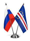 Russia and Cape Verde - Miniature Flags.