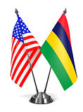 USA and Mauritius - Miniature Flags.