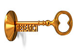 Research - Golden Key is Inserted into the Keyhole.