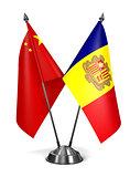 China and Andorra - Miniature Flags.