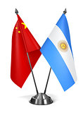 China and Argentina - Miniature Flags.