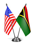 USA and Vanuatu - Miniature Flags.