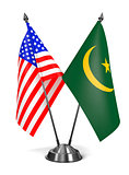 USA and Mauritania - Miniature Flags.