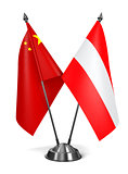 China and Austria - Miniature Flags.