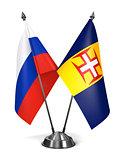 Russia and Madeira - Miniature Flags.