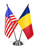 USA and Romania - Miniature Flags.