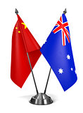 China and Australia - Miniature Flags.