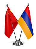 China and Armenia - Miniature Flags.