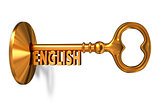English - Golden Key is Inserted into the Keyhole.