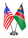 USA and Namibia - Miniature Flags.