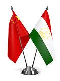 China and Tajikistan - Miniature Flags.