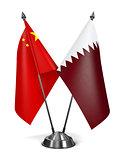 China and Qatar - Miniature Flags.