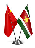 China and Suriname - Miniature Flags.