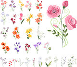 Collection of different stylized flowers