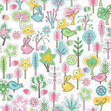 Seamless pattern with rabbits and spring trees