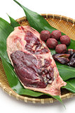 wild mallard duck  raw meat, japanese food